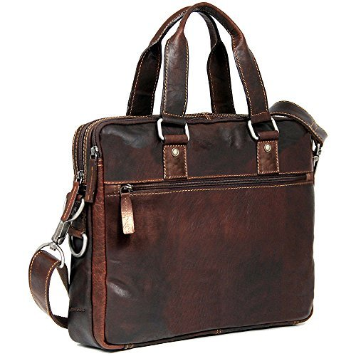 Jack Georges Voyager Slim Double Entry Top Zip Leather Laptop Briefcase in Black