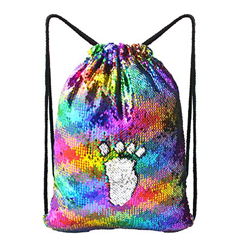MHJY Sequin Bag Unciorn Drawstring Bag Mermaid Backpack Sparkly Gym Dance Bag Reversible Flip Sequin Bling Backpack for Hiking Beach Travel Bags