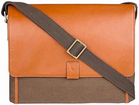 Hidesign Aiden Canvas And Leather Business Laptop Messenger Cross Body Bag, Desert Palm