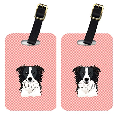 Caroline's Treasures BB1241BT Pair of Checkerboard Pink Border Collie Luggage Tags , Large, multicolor