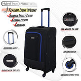3 Pc Luggage Set Durable Lightweight Soft Case Spinner Suitecase Lug3 Jz787 Black/Dark