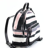 Tommy Hilfiger Women's Julia Dome Backpack Nylon Victory Stripe Black/Pink One Size