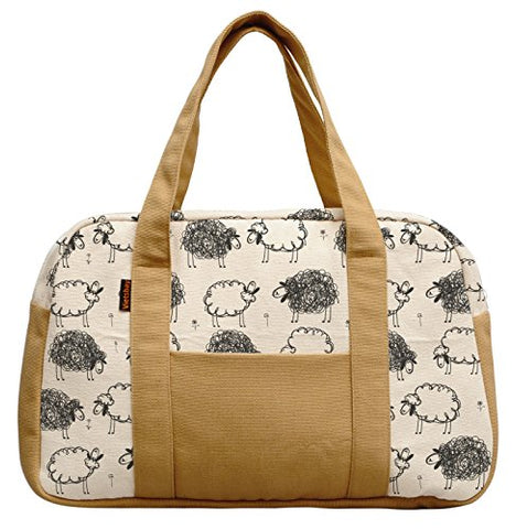 Women'S Black White Sheep Pattern Printed Canvas Duffel Travel Bags Was_19