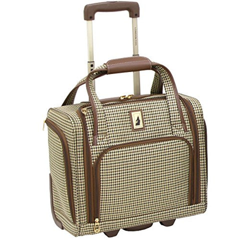London Fog Cambridge Ultra-Lightweight 15Inch 2-Wheel Under The Seat Bag, Olive Houndstooth