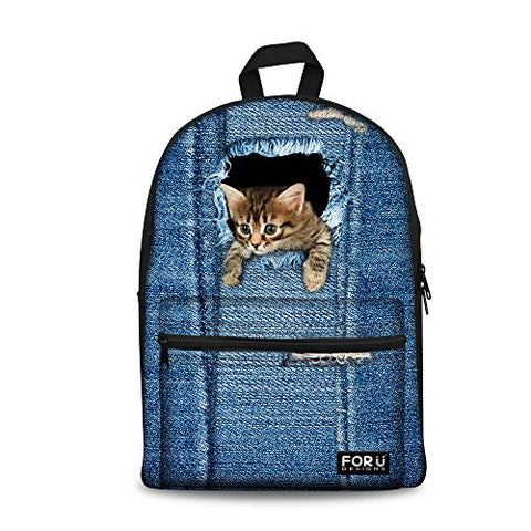 Bigcardesigns Girl'S School Bag Tabby Cat Blue