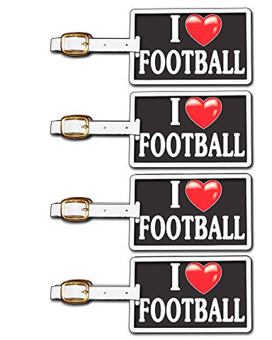 Tag Crazy I Heart Football Four Pack, Black/White/Red, One Size
