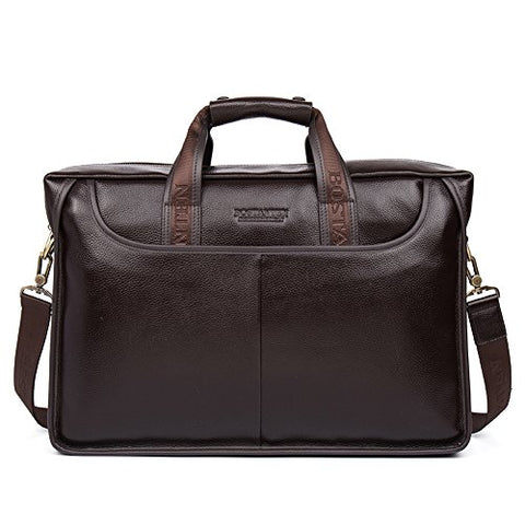 BOSTANTEN Leather Lawyers Briefcase Laptop Messenger Business Bags for Men Brown