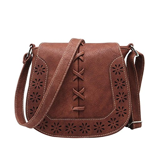 Bibitime Vintage Bohemian Hollow Flower Design Messenger Bag For Women Cross Body Bags For Travel