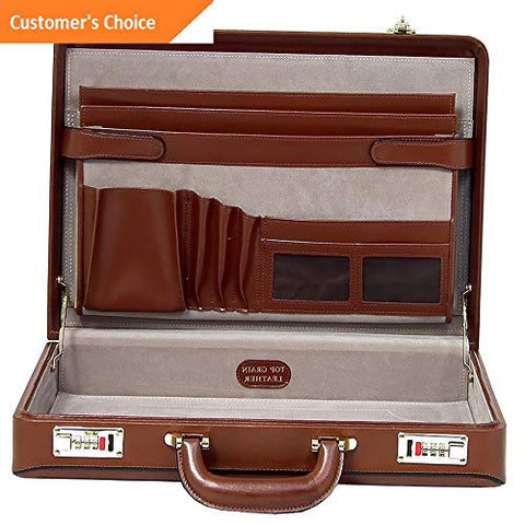 Sandover McKlein Reagan Leather Attache Case 2 Colors Non-Wheeled Business Case NEW | Model LGGG