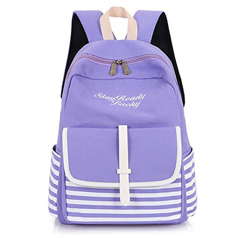 Wintefei Useful Schoolbag Fashion Backpack Striped Letters Embroidered School Bag Rucksack Shoulders Bag - Purple