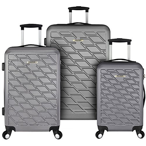 Elite Luggage Ocean 3-Piece Lightweight Luggage Set, Grey