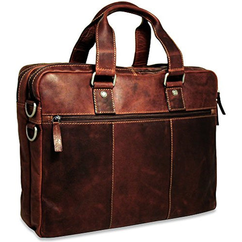 Jack Georges Mens Voyager Large Double Gusset Top Zip Briefcase in Brown
