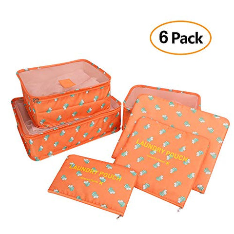 6 Set Travel Luggage Packing Organizers Cubes, Mesh Luggage Cloth Bag Cubes and Compression Laundry