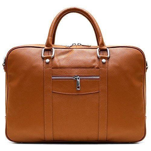 Floto Toscana Slim Brown Briefcase Attache Lap-top Case