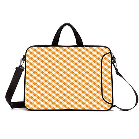 "13"" Neoprene Laptop Bag Sleeve with Handle,Adjustable Shoulder Strap & External Side Pocket,Checkered,Cross Weave Gingham Pattern in Orange and White Old Fashioned Classical Tile Decorative,Orange W"