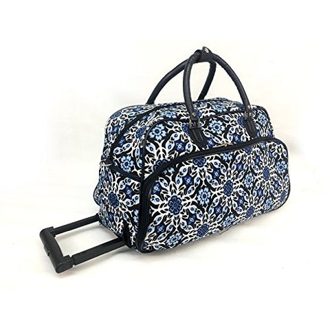 Exotic Wild Floral Medallion Motif Rolling Lightweight Carry On Duffel Bag, Modern Graphic Tribal