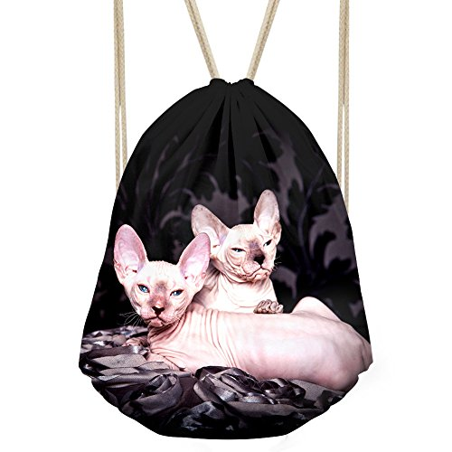 Bigcardesigns Drawstring Backpack Gym Bag Lightweight Sackpack Hairless Cat