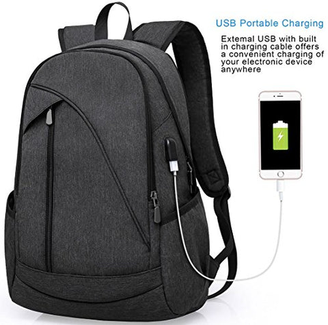Ibagbar Water Resistant Laptop Backpack With Usb Charging Port Fits Up To 15.6-Inch Laptop And