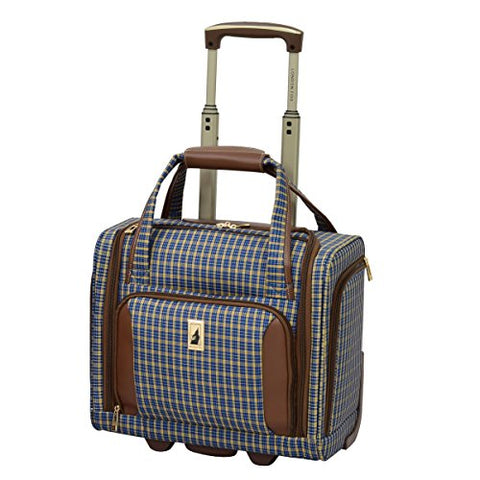 London Fog Kensington Ultra-Lightweight 15Inch 2-Wheel Under The Seat Bag, Blue Tan Plaid