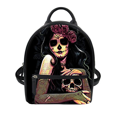 Fashion Women's Mini Backpack Purse Cool Cartoon Skull Printed Pu Leather Rucksack