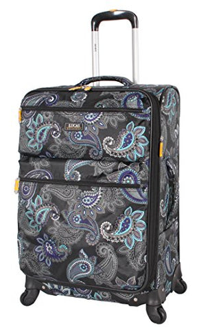 "Lucas Printed Softside 24"" Lightweight Expandable Luggage With Spinner Wheels (24In, Diva)"