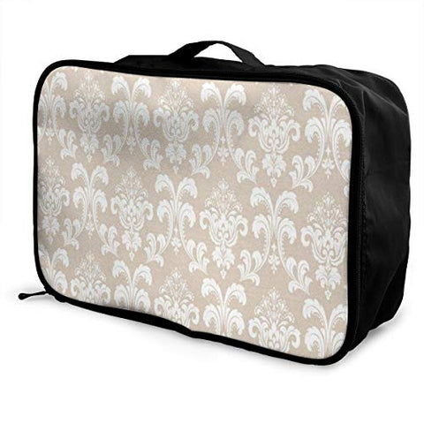 Travel Bags Baroque White Damask Seamless Portable Duffel Trolley Handle Luggage Bag