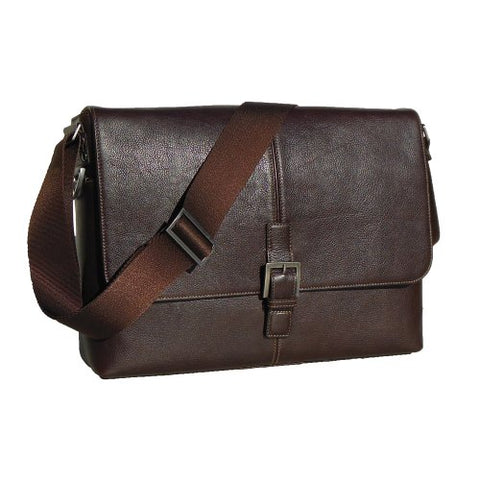 Boconi Men'S Tyler Tumbled Single Buckle Messenger In Coffee Leather W/ Khaki