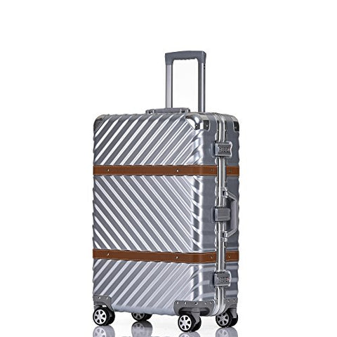 Checked Luggage, Aluminum Frame Hardside Fashion Suitcase with Detachable Spinner Wheels 28 Inch Silver