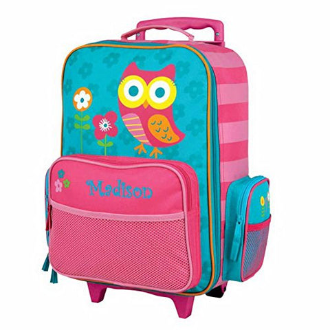 Personalized Kids Rolling Luggage (Teal Owl)
