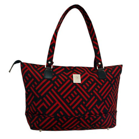 Jenni Chan Signature Computer Tote, Black/Red, One Size