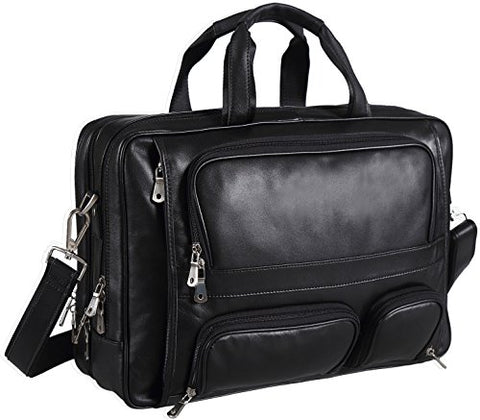 Polare Real Leather 17''Laptop Carry On Overnight Bag Business Briefcase Large