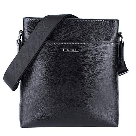 "Banuce Black Real Leather Messenger Bag for Men Crossbody 9.7"" iPad Shoulder Business Bag"