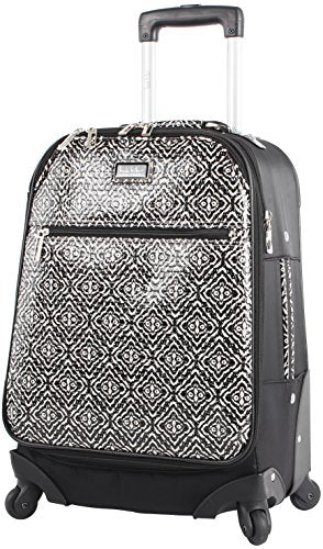 "Nicole Miller Teagan 20"" Long Bound Expandable Spinner Wheeled Suitcase (Black)"