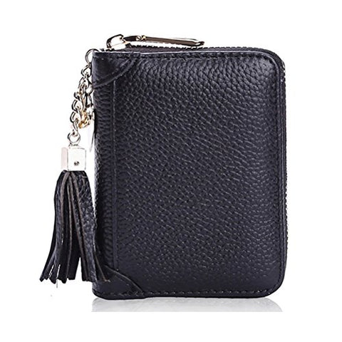 BOBILIKE Genuine Leather Credit Card Holder Case Zip Around Wallet Purse for Women,20 Card Slots