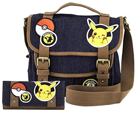 Pokémon Pikachu Patches Messenger Bag and Wallet Set by Loungefly (Multi)