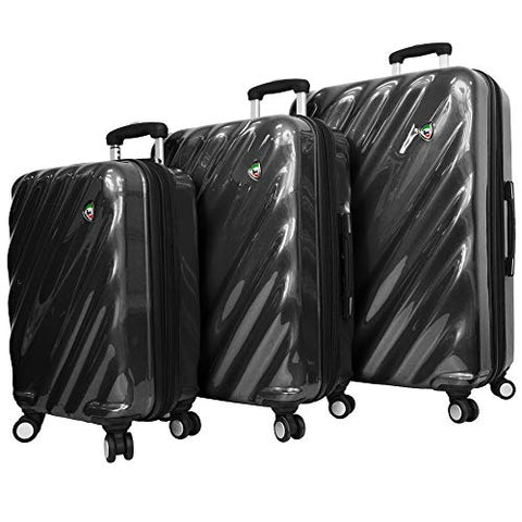 Mia Toro Italy Onda Fusion Hardside Spinner Luggage 3pc Set, Black