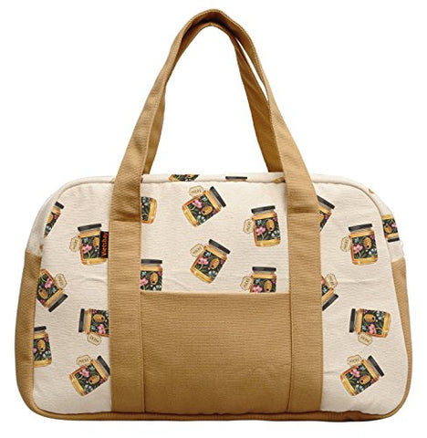 Women'S Flower Honey Bottle Printed Canvas Duffel Travel Bags Was_19