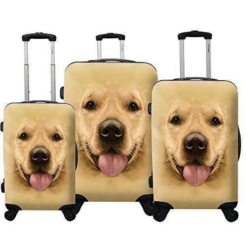 Chariot Dog 3-Piece Expandable Hardside Lightweight Spinner Luggage Set, Labrador