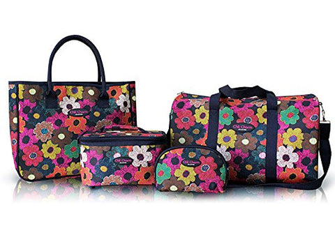 4Pc Duffel Travel Bag Clutch Toiletry Cosmetic Purse Tote Set Multi Color Flowers