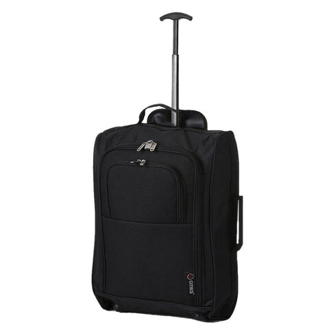 5Cities Lightweight Hand Luggage Bag - Approved Ryanair 2 Wheeled Cabin Baggage. 42L Travel Suitcase Holdall Includes Padlock! (Black 830)