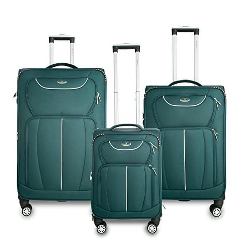 Gabbiano Avon 3 Piece Softside Spinner Luggage Set (Ocean Green)