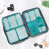 Packing Cubes for Travel, 8Pcs Compression Travel Cubes Set Foldable Suitcase Organizer Lightweight Luggage Storage Bag (Blue)