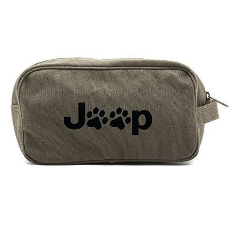 Jeep Wrangler Cat Dog Paw Prints Dual Two Compartment Toiletry Kit Olive & Black