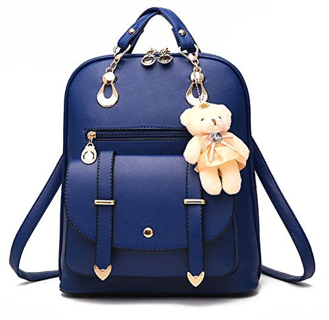 Yaagle Korean Pu Shoulder Large Capacity Bag With Bear Decoration For Women And Girl (Navy)