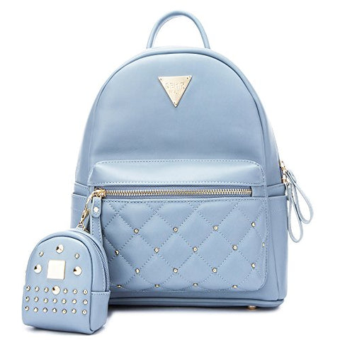 Cute Small Backpack Mini Purse Casual Waterproof Daypacks Leather For Teen Girls And Women (Blue)