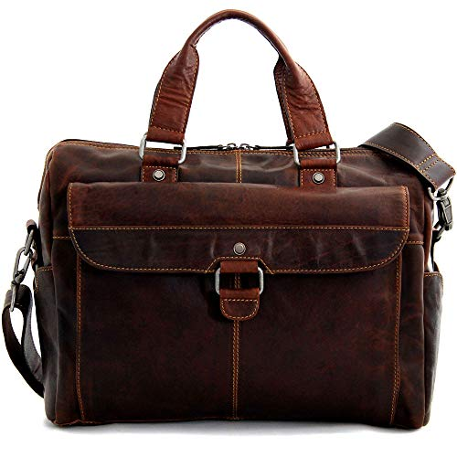 Jack Georges Voyager Top Zip Briefcase with Front Pocket (Brown)