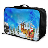 Travel Bags Happy Christmas Day Portable Tote Trolley Handle Luggage Bag