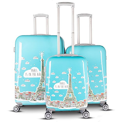 Gabbiano Paris Collection 3-Piece Expandable Hardside Spinner Set (Teal)