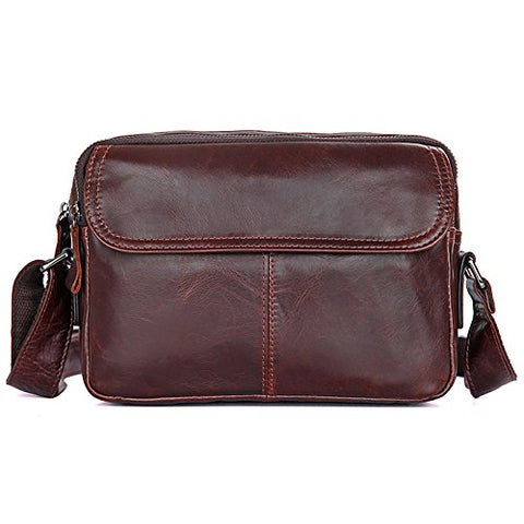 Clean Vintage Leather Crossbody Purse Women / Men'S Carry-All Messenger Bag (Brown)