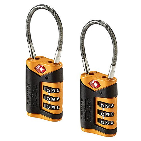 Lewis N. Clark Tsa-Approved Combination Luggage Lock With Steel Cable (2-Pack), Orange, One Size